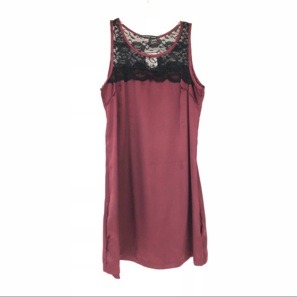 4a187e0ab7 Maroon burgundy satin dress with black lace